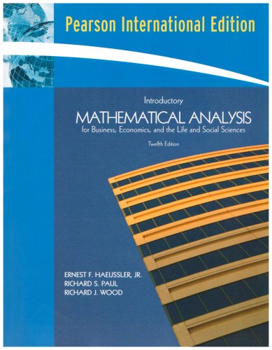 Introductory Mathematical Analysis for Business, Economics and: Haeussler, Ernest F.