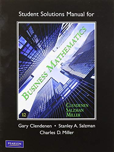 Student's Solutions Manual for Business Mathematics: Miller, Charles D., Salzman, Stanley, ...