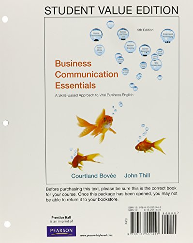 9780132551441: Business Communication Essentials, Student Value Edition (5th Edition)
