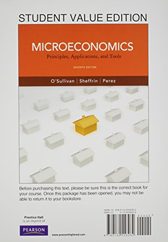9780132556262: Microeconomics: Principles, Applications and Tools, Student Value Edition (7th Edition)