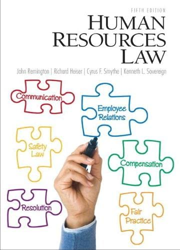 Human Resources Law (5th Edition): Sovereign, Kenneth, Smythe,