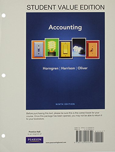Accounting, Student Value Edition (9th Edition): Horngren, Charles T.; Harrison Jr., Walter T.; ...