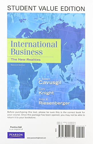 9780132574891: International Business: The New Realities, Student Value Edition Plus NEW MyIBLab with Pearson eText -- Access Card Package (2nd Edition)