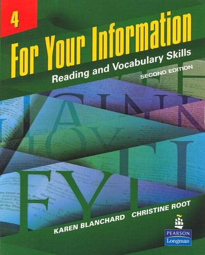 9780132604321: For Your Information 4: Reading and Vocabulary Skills (Student Book and Classroom Audio CDs) (2nd Edition)