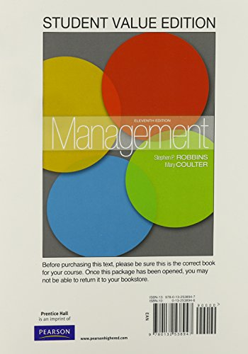 9780132622677: Management, Student Value Edition Plus NEW MyManagementLab with Pearson eText -- Access Card Package (11th Edition)