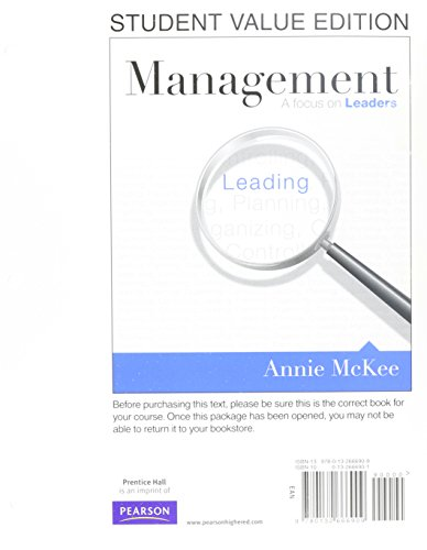 9780132625586: Management: A Focus on Leaders, Student Value Edition Plus MyManagementLab with Pearson eText -- Access Card Package