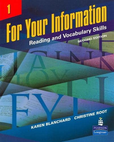 9780132626460: For Your Information 1: Reading and Vocabulary Skills (Student Book and Classroom Audio CDs) (2nd Edition)