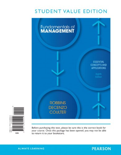 9780132655040: Fundamentals of Management: Essential Concepts and Applications, Student Value Edition (8th Edition)