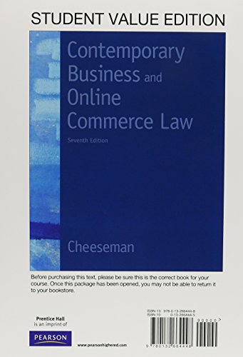 9780132664448: Contemporary Business and Online Commerce Law, Student Value Edition (7th Edition)