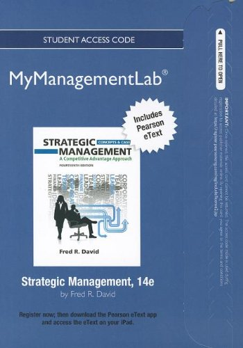 9780132666275: NEW MyManagementLab with Pearson eText -- Access Card -- for Strategic Management: A Competitive Advantage Approach