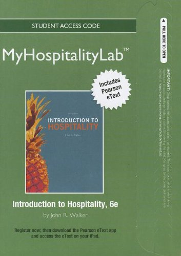 9780132683296: 2012 MyHospitalityLab with Pearson eText -- Access Card -- for Introduction to Hospitality