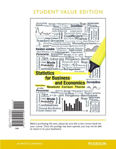 9780132745758: Statistics for Business and Economics, Student Value Edition (8th Edition)