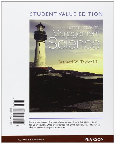 9780132752008: Introduction to Management Science, Student Value Edition (11th Edition)