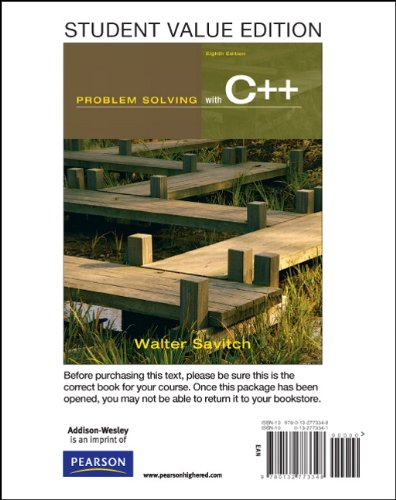 9780132773348: Student Value Edition for Problem Solving with C++ (8th Edition)