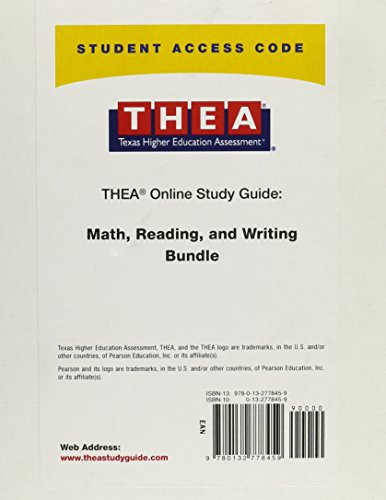 9780132778459: Access Code Card for the Online Study Guide Bundle for the Texas Higher Education Assessment (THEA) Mathematics, Reading, and Writing Tests