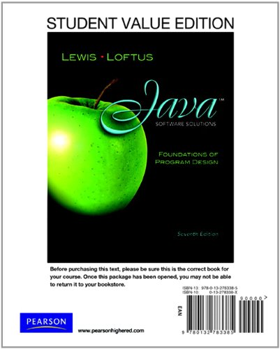9780132783385: Student Value Edition for Java Software Solutions (7th Edition)