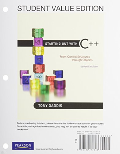 9780132804233: Starting Out with C++: From Control Structures to Objects, Student Value Edition Plus MyProgrammingLab with Pearson eText -- Access Card Package (7th Edition)