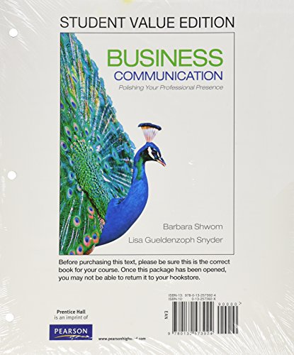 9780132804264: Business Communication: Polishing Your Professional Presence, Student Value Edition Plus 2012 MyBCommLab with Pearson eText -- Access Card  Package