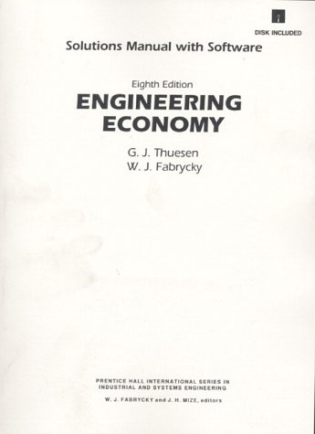 9780132805049: Engineering Economy Solutions Manual With Software