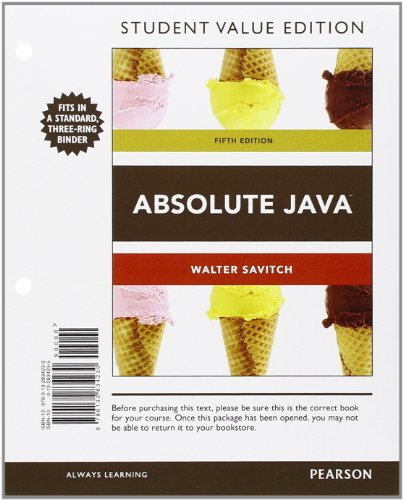 9780132834230: Absolute Java, Student Value Edition (5th Edition)
