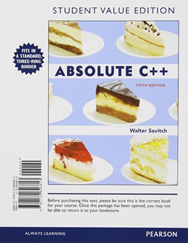 9780132846813: Absolute C++, Student Value Edition (5th Edition)