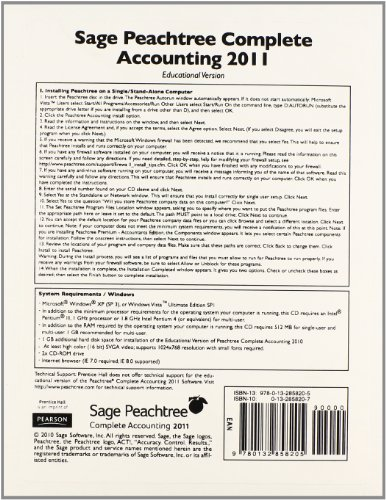 9780132858205: Peachtree Complete Accounting 2011 CD