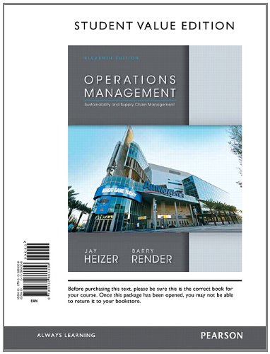 Operations Management, Student Value Edition (11th Edition): Heizer, Jay; Render, Barry