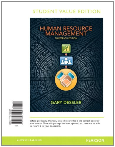 Human Resource Management, Student Value Edition (13th: Dessler, Gary