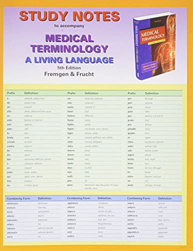 9780132873284: Study Notes for Medical Terminology: A Living Language