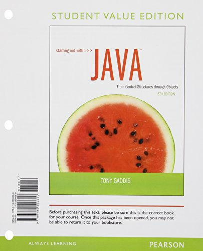 9780132890380: Starting Out with Java: Control Structures through Objects Student Value Edition (5th Edition)
