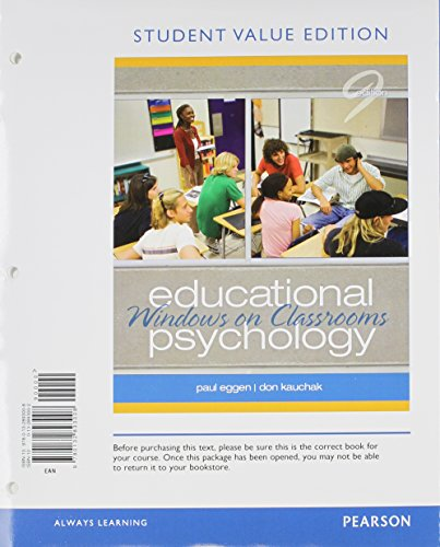 9780132893008: Educational Psychology: Windows on Classrooms, Student Value Edition (9th Edition)