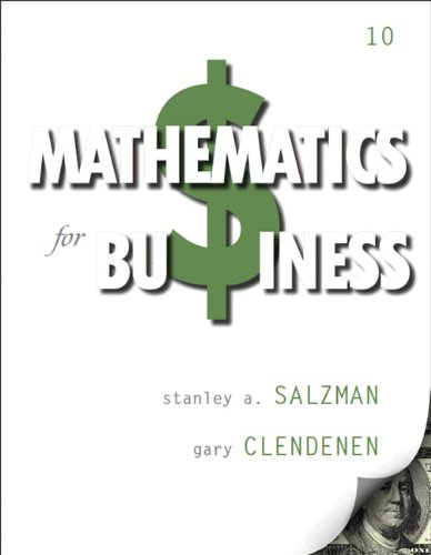 Mathematics for Business (10th Edition): Salzman, Stanley A.;