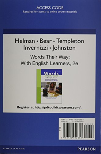 9780132942669: PDToolKit -- 12-month Extension Standalone Access Card -- for Words Their Way with English Learners: Word Study for Phonics, Vocabulary, and Spelling (2nd Edition) (Words Their Way Series)