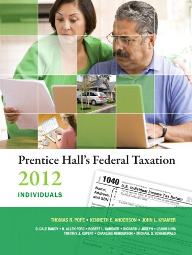 Prentice Hall's Federal Taxation 2012 Individuals Plus NEW MyAccountingLab with Pearson eText -- Access Card Package (25th Edition) (9780132946285) by Thomas R. Pope; Kenneth E. Anderson; John L. Kramer