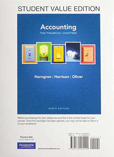 9780132959704: Accounting, Chapters 1-15 (Financial chapters), Student Value Edition Plus NEW MyLab with Pearson eText -- Access Card Package (9th Edition)