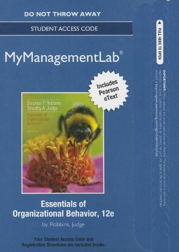 9780132972734: NEW MyManagementLab with Pearson eText -- Access Card -- for Essentials of Organizational Behavior (MyManagementLab (access codes))