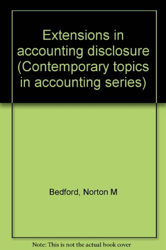9780132980753: Extensions in accounting disclosure (Contemporary topics in accounting series)