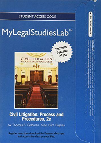9780132989084: NEW MyLegalStudiesLab and Virtual Law Office Experience with Pearson eText -- Access Card -- for Civil Litigation: Process and Procedures
