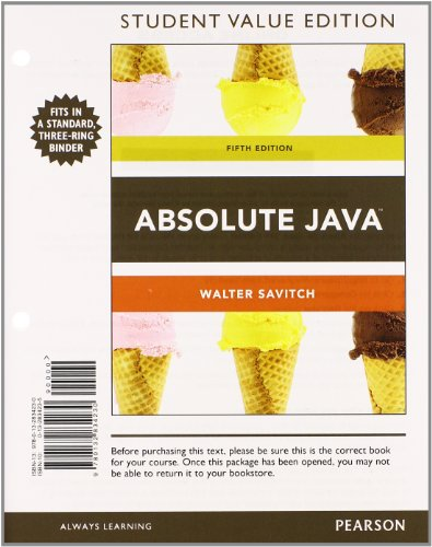 9780132989978: Absolute Java, Student Value Edition Plus MyProgrammingLab with Pearson eText -- Access Card Package (5th Edition)