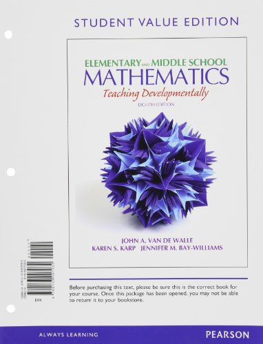 9780133007930: Elementary and Middle School Mathematics: Teaching Developmentally, Student Value Edition (8th Edition)