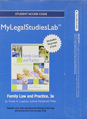 9780133008579: NEW MyLegalStudiesLab and Virtual Law Office Experience with Pearson eText -- Access Card -- for Family Law and Practice (Mylegalstudieslab (Access Codes))