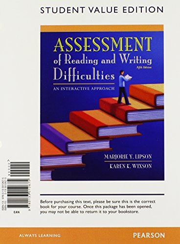 9780133012675: Assessment of Reading and Writing Difficulties: An Interactive Approach, Student Value Edition (5th Edition)