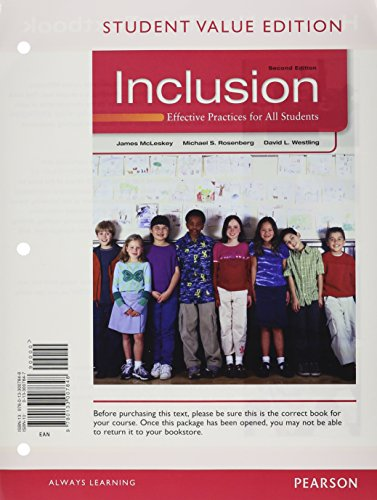 9780133013573: Inclusion: Effective Practices for All Students, Student Value Edition Plus NEW MyEducationLab with Pearson eText -- Access Card Package