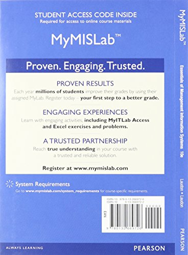 9780133015027: Essentials of MIS, Student Value Edition Plus MyMISLab with Pearson eText -- Access Card Package