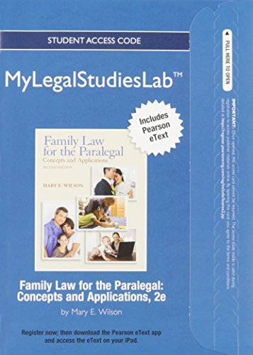 9780133026047: NEW MyLegalStudiesLab and Virtual Law Office Experience with Pearson eText -- Access Card -- for Family Law for the Paralegal