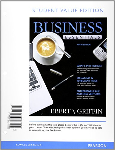 9780133034011: Student Value Edition for Business Essentials Plus 2012 MyBizLab with Pearson eText -- Access Card Package