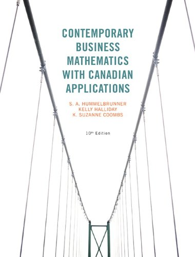 9780133052312: Contemporary Business Mathematics with Canadian Applications (10th Edition)
