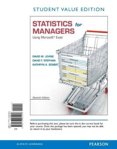 9780133061956: Statistics for Managers Using Microsoft Excel