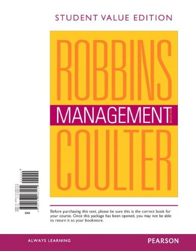 Management, Student Value Edition (12th Edition) (0133063135) by Mary A. Coulter; Stephen P. Robbins
