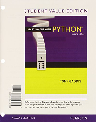 9780133076646: Starting Out with Python, Student Value Edition Plus MyProgrammingLab with Pearson eText -- Access Card Package